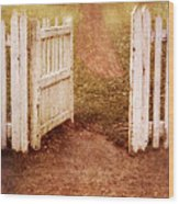 Open Gate To Cottage Wood Print