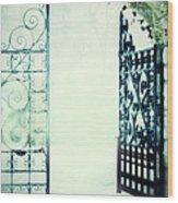 Open Iron Gate In Fog Wood Print