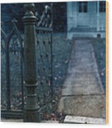 Open Iron Gate To Old House Wood Print