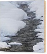 Open Running Creek With Snow Covered Wood Print by Michael Interisano