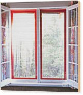 Open Window In Cottage Wood Print by Elena Elisseeva