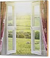 Open Window With Countryside View Wood Print