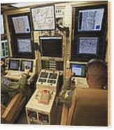 Operators Control Uavs From A Ground Wood Print by HIGH-G Productions