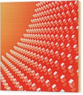 Orange Abstract Cubes In A Curve Wood Print by Ralf Hiemisch