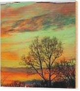 Orange And Blue Sky Wood Print