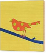 Orange Bird Wood Print