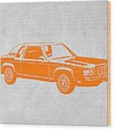 Orange Car Wood Print by Naxart Studio
