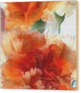 Orange Carnations Wood Print