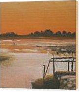 Orange Estuary Wood Print