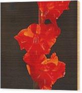 Orange Fire Wood Print