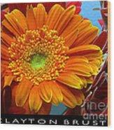 Orange Floral Wood Print