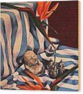 Orange Flowers And Blue Cloth Wood Print