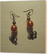 Orange Gold Elephant Earrings Wood Print by Jenna Green