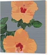 Orange Hibiscus Twins Wood Print