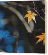 Orange Leaf On A Tree In Winter Setting Wood Print