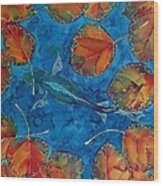 Orange Leaves And Fish Wood Print by Carolyn Doe