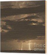 Orange Lightning Wood Print