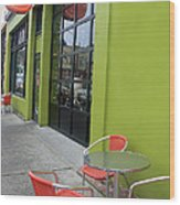 Orange Neon Coffee Wood Print