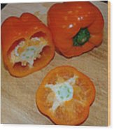 Orange Peppers Wood Print