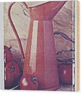 Orange Pitcher And Tomatoes Wood Print