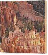 Orange Rock Formations And Trees At Wood Print
