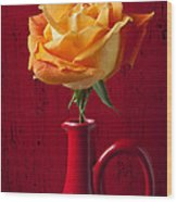 Orange Rose In Red Pitcher Wood Print