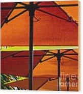 Orange Sliced Umbrellas Wood Print
