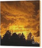 Orange Stormy Skies Wood Print
