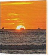 Orange Sunset V Wood Print