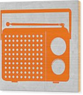 Orange Transistor Radio Wood Print