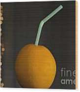 Orange With Straw Wood Print