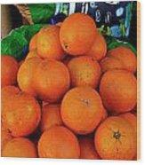 Oranges Displayed In A Grocery Shop Wood Print by Sami Sarkis