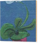 Orchid Inspired Floral On Blue 1 Wood Print