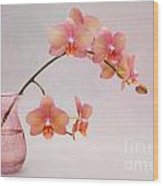 Orchids In A Pink Vase Wood Print