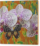 Orchids With Speckled Butterfly Wood Print