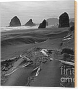 Oregon Coast Black And White Wood Print