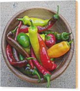 Organic Colorful Peppers Wood Print