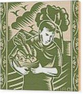 Organic Farmer With Basket Harvest Crops Retro Wood Print by Aloysius Patrimonio