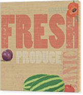 Organic Fresh Produce Poster Illustration Wood Print by Don Bishop