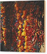 Organically-grown Peppers Are Hung Wood Print