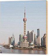 Oriental Pearl Tower In Shanghai Wood Print