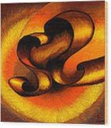 Original Abstract Orange Wood Print
