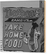 Original Nathan's In Black And White  Wood Print