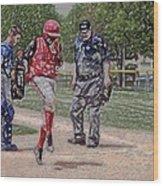 Ouch Baseball Foul Ball Digital Art Wood Print