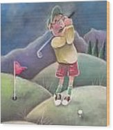 Out On The Course Wood Print