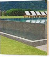 Outdoor Swimming Pool Wood Print by Atiketta Sangasaeng