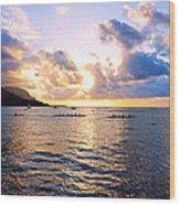 Outrigger Canoes Hanalei Bay Kauai Wood Print