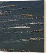 Outrigger Canoes Race From Molokai Wood Print