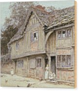 Outside A Timbered Cottage Wood Print