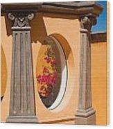 Oval Floral Peek Wood Print